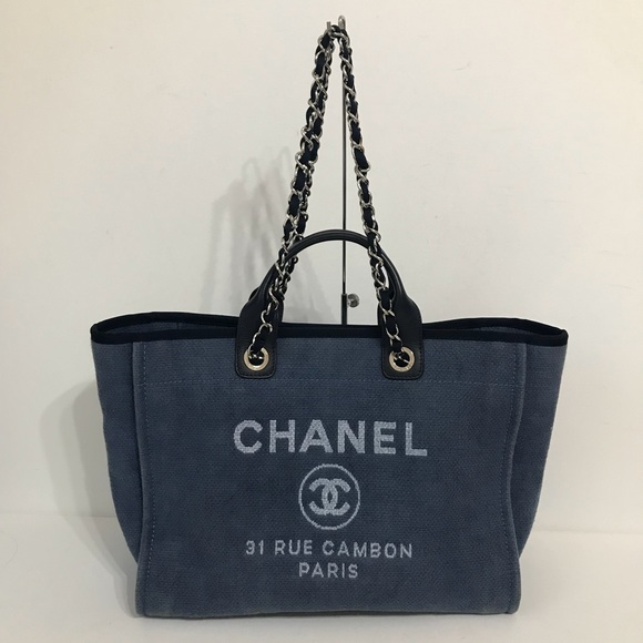 CHANEL Handbags - Authentic Chanel Large Deauville Tote Blue 10cd44132c882